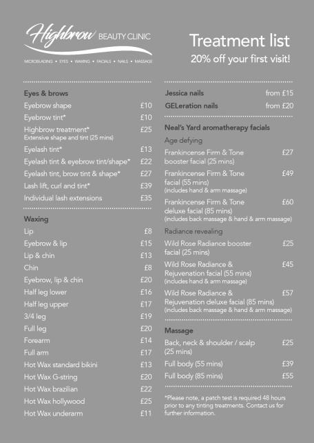 Highbrow Beauty Clinic Treatment List A5 PRESS2